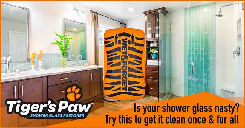 Tiger's paw is the ONLY Way to Get Rid of Calcium Deposits on Shower Doors