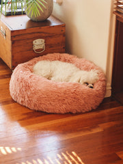 Long Pile Donut Dog Bed