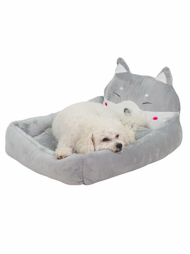 Soft plush 3D dog head dog bed in grey