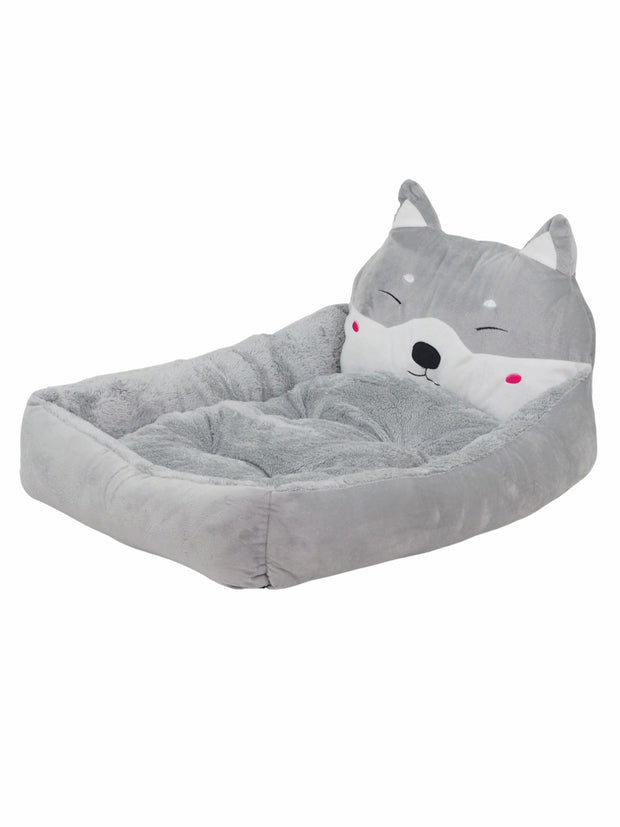 Trending dog bed with 3D dog face in grey