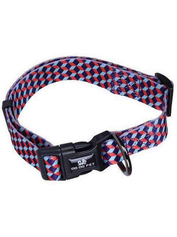 3D geometric nylon dog collar