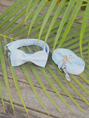 Blue Stripe Dog Bow Tie Collar and Lead Set