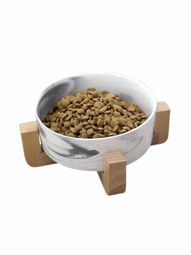 Modern Ceramic & Bamboo Dog Bowl