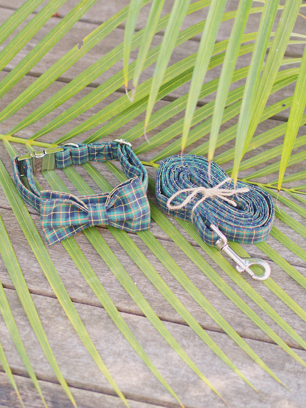 Dark Green Plaid Dog Bow Tie and Lead Set