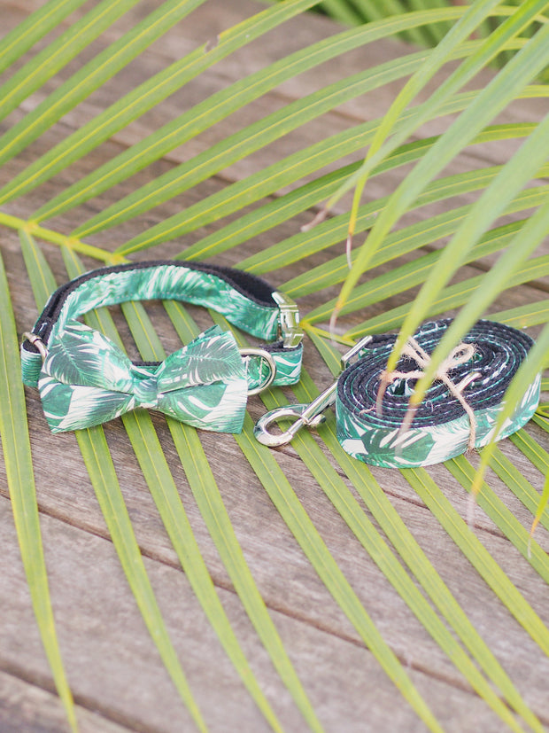 Jungle Leaf Dog Bow Tie and Lead Set