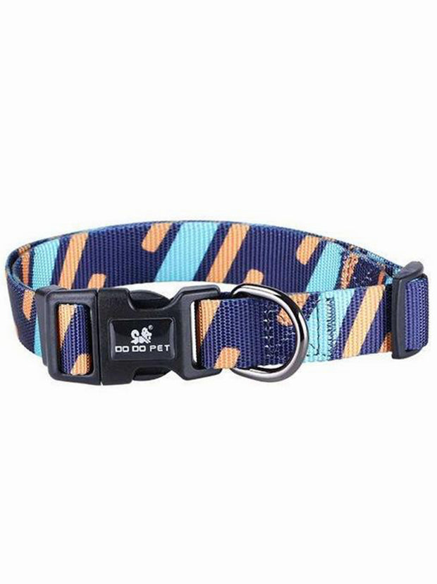 abstract stripe nylon dog collar