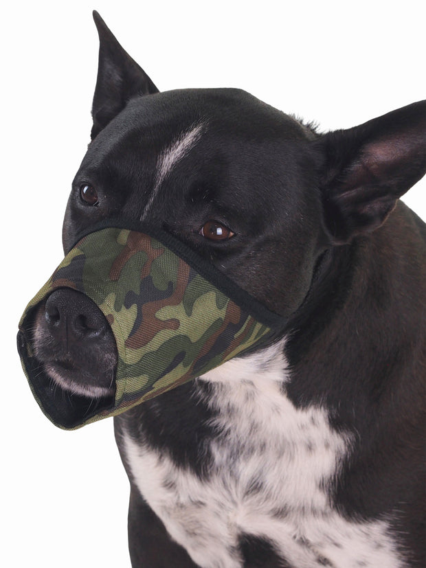 Breathable soft nylon dog muzzle in camo