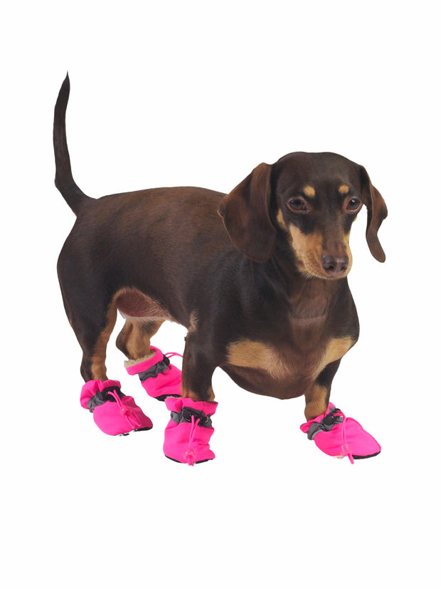 Plush Plastic Dog Paw Protector Boots in Pink