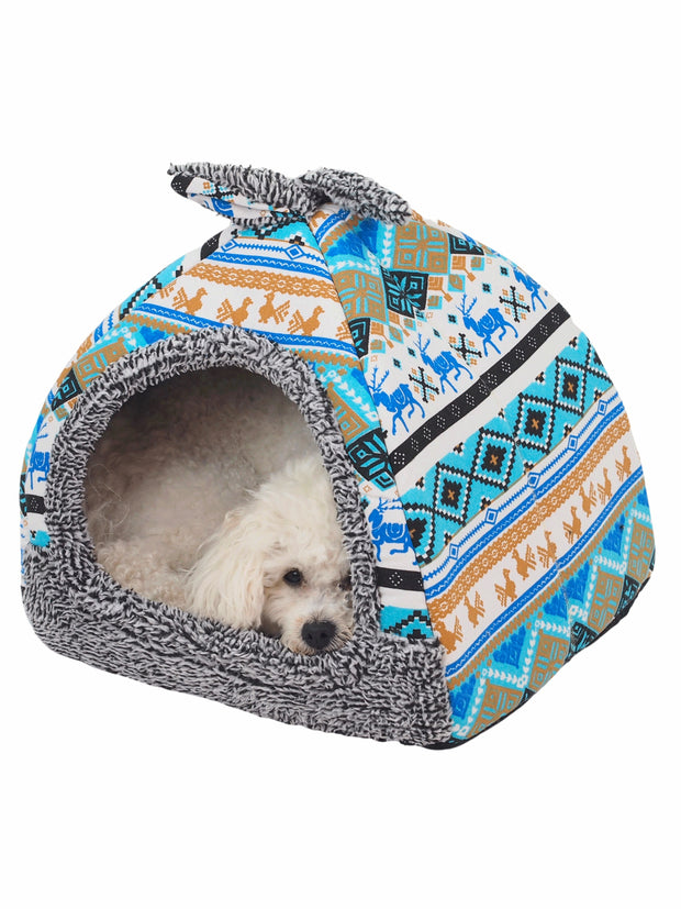 Aztec pattern cave dog bed