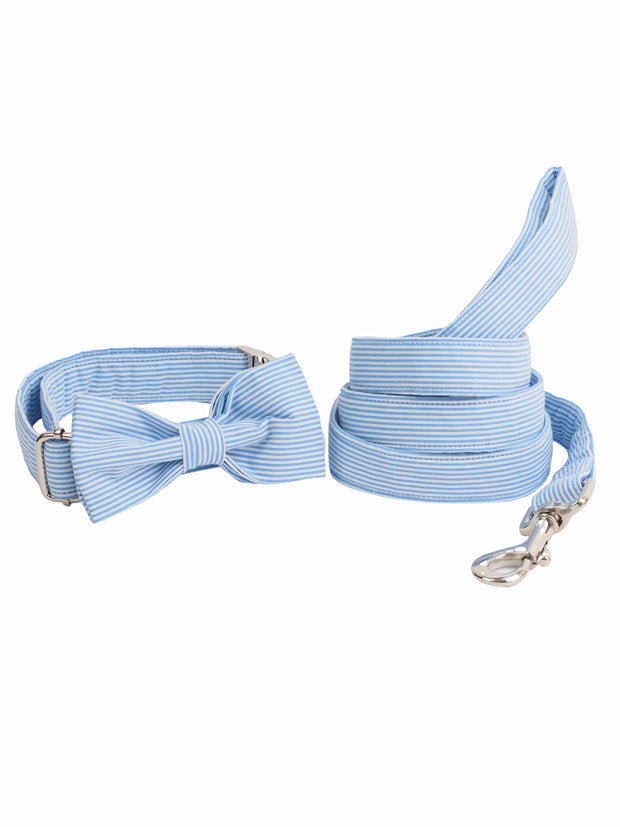 Fancy bow tie, collar and dog lead set