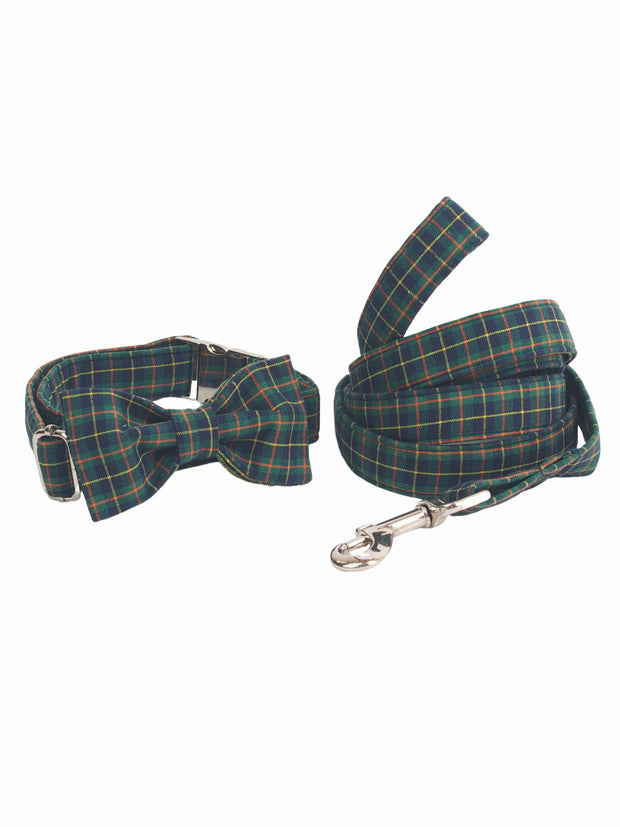 Dark Green Plaid Dog Bow Tie Collar and Lead