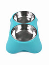 blue double dog bowl set