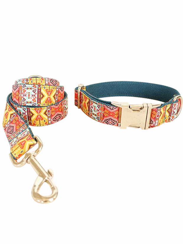 bohemian luxury dog collar and lead set