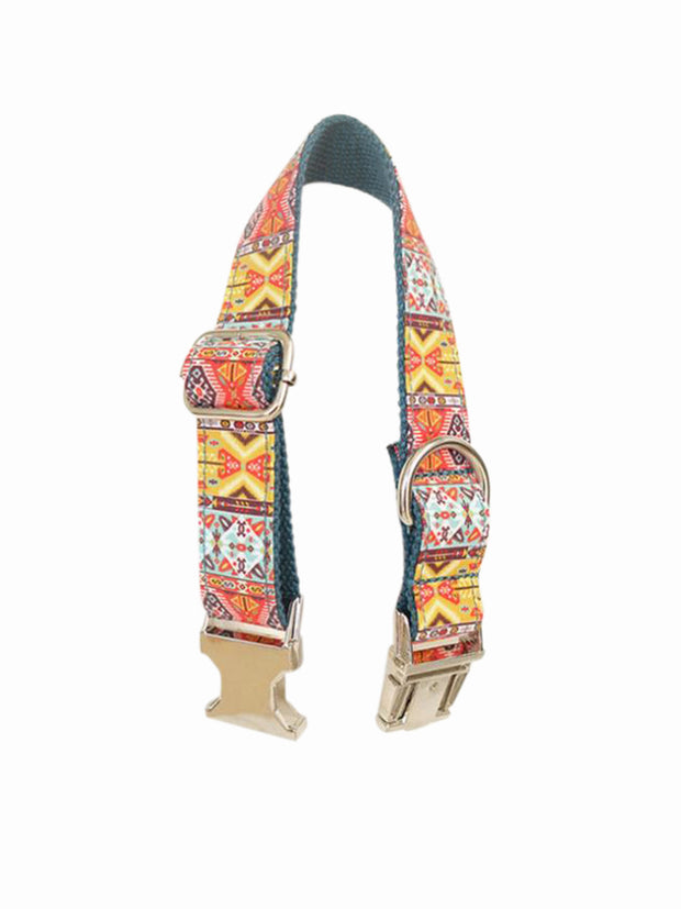 lux bohemian pattern dog collar