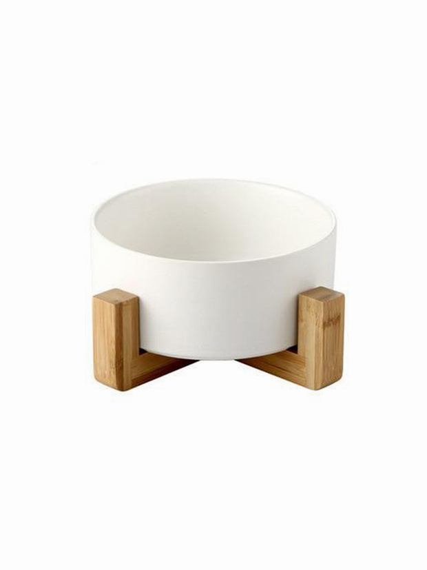 white ceramic dog bowl