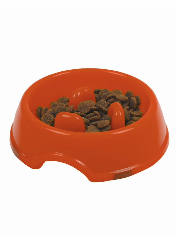 Plastic nub bowl for fast eating dogs