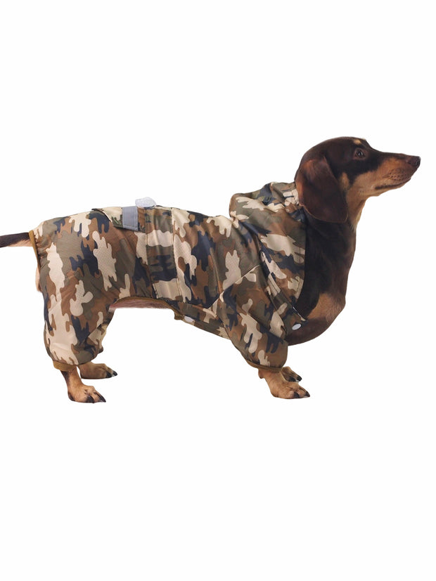 Fashionable camo dog raincoat and rainjacket
