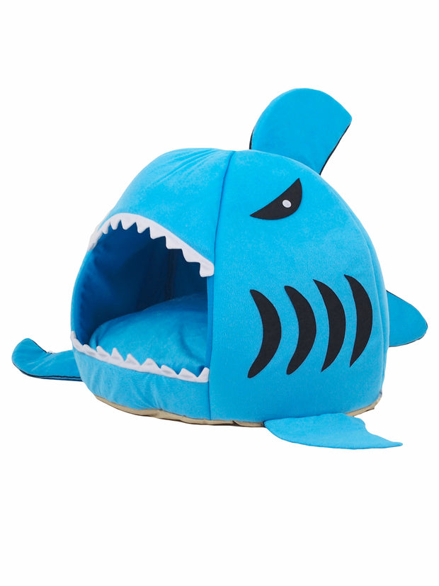 Shark cave dog bed with removable cushion