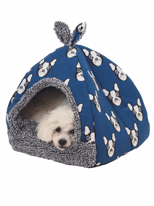 Boston terrier pattern cave dog bed