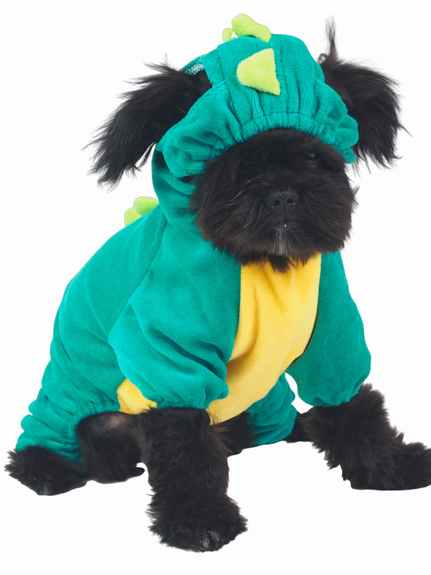 Green dragon onesie for dogs with spikes on back