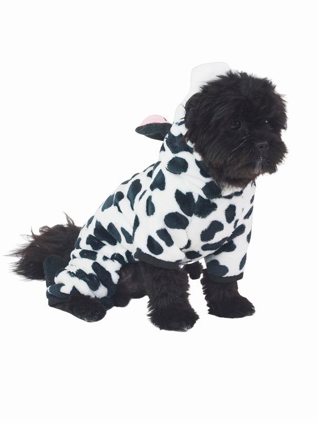 Milk cow soft dog onesie with hood