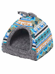 Soft plush cave dog bed