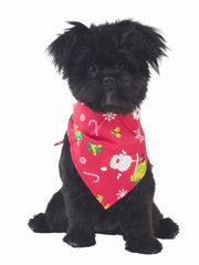 Xmas Christmas themed Dog Bandana in red