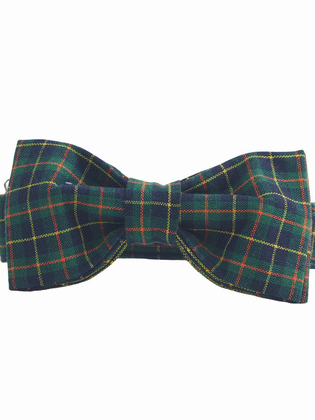Fancy green plaid dog bow tie and collar