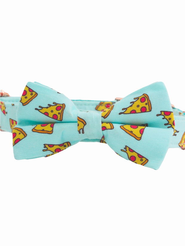 Fancy pizza slice dog bow tie