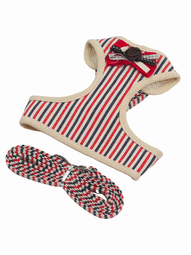 Cute red striped dog harness, bow tie and lead set
