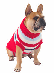Warm knitted wool dog sweater jumper in red