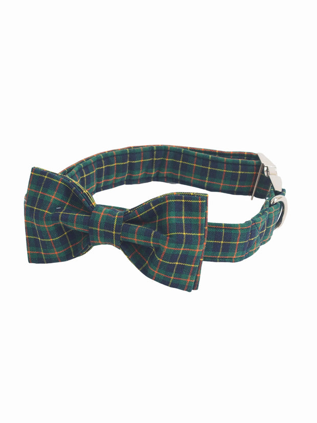 Fashionable dark green plaid dog bow tie collar