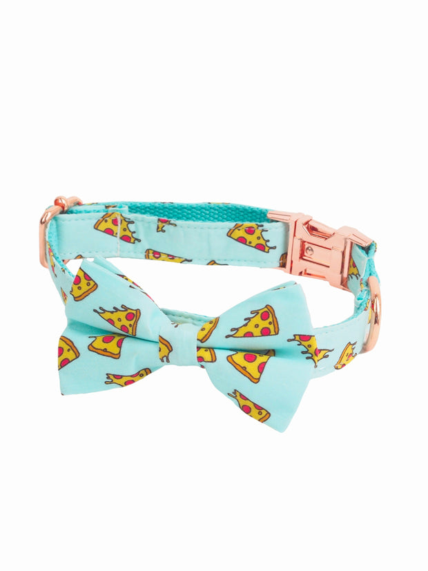 Pizza slice pattern dog bow tie collar