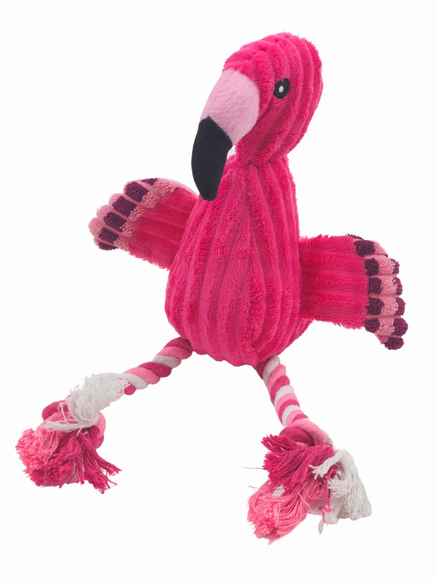 Affordable online plush pink flamingo dog toy