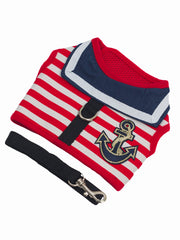 Cute adjustable nautical dog harness in red stripe