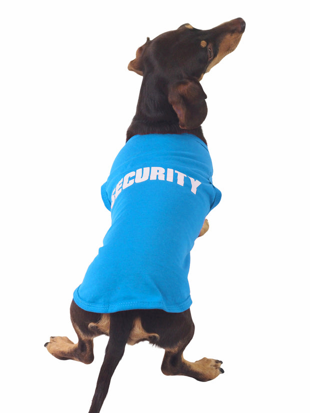 Funny dog shirt with the word security