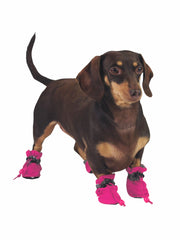 Plastic dog booties in pink
