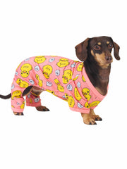 Cute polyester dog pyjama onesie in pink with ducks
