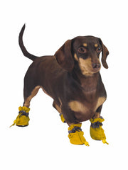 Non-slip dog paw protectors for winter in yellow