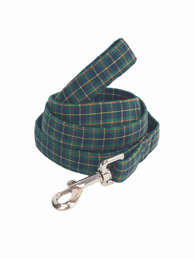 Quality dark green plaid dog lead