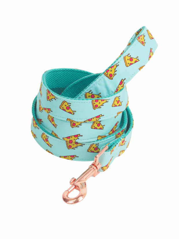 Trendy dog lead with pizza slice pattern