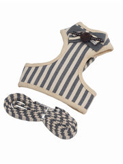 Cute grey striped dog harness, bow tie and lead set
