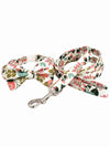 floral pattern dog bow tie and lead set