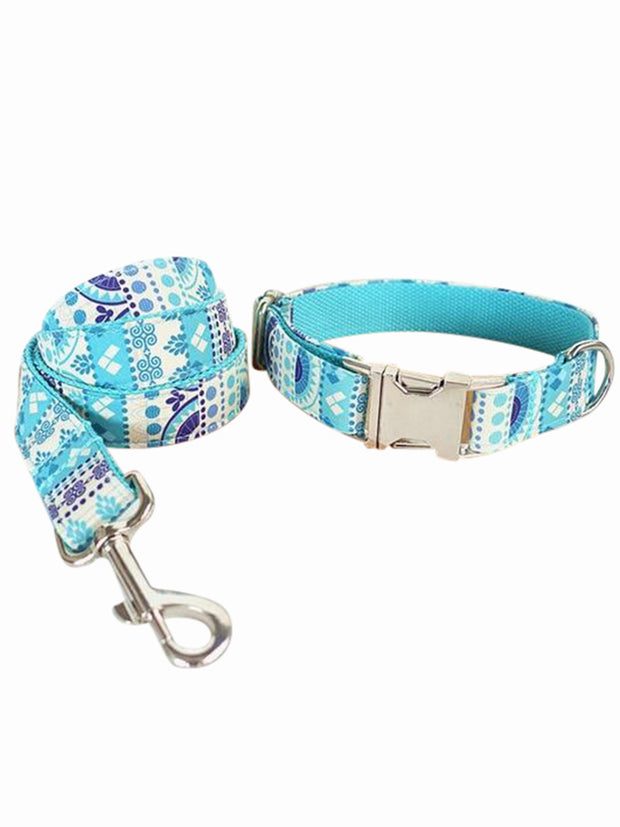 folk blue dog collar and lead set luxury