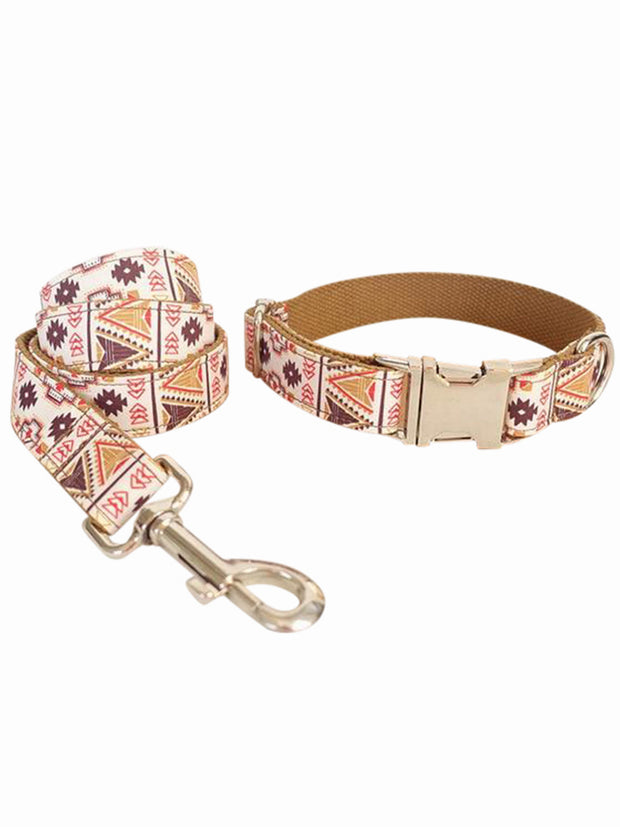 folk brown luxury dog collar and lead set