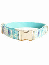 folk pattern blue lux dog collar