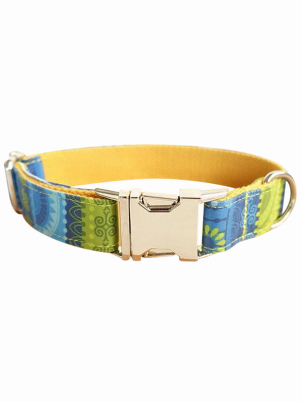 folk yellow luxury dog collar