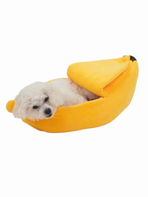 Cute yellow banana soft cave dog bed