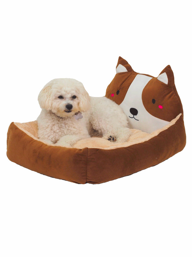 3D dog head bed in brown
