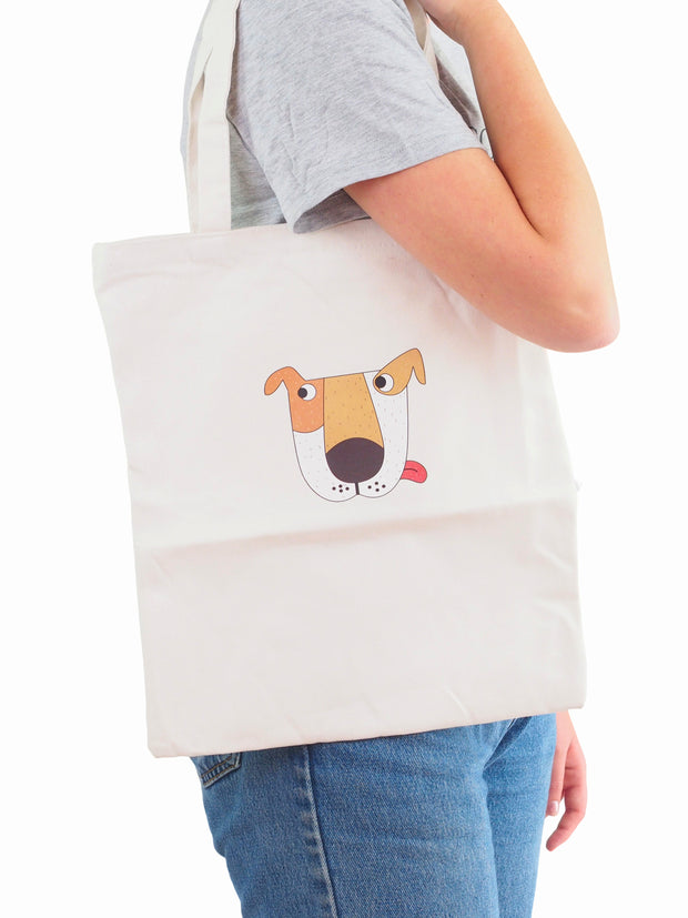 Dog themed canvas tote bag with zipper